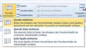 Excel-Zeilen fixieren 2