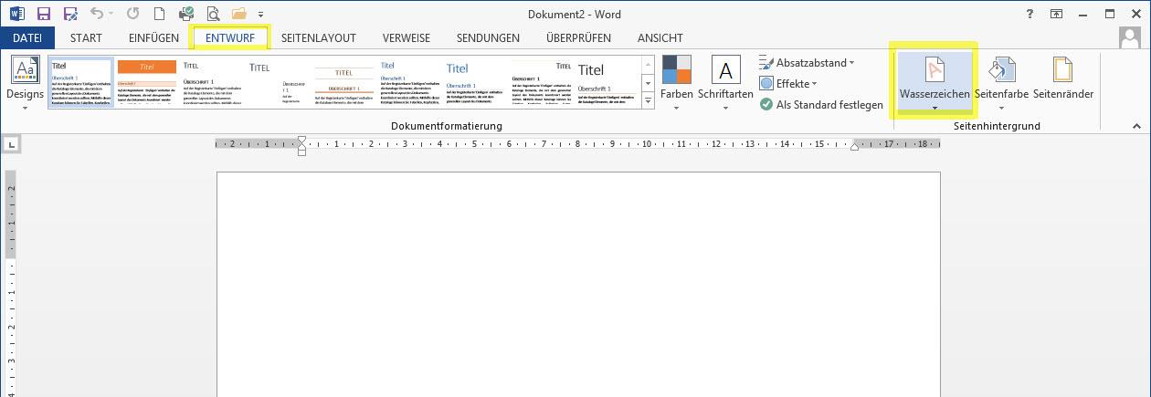 Microsoft word entwurf hintergrund